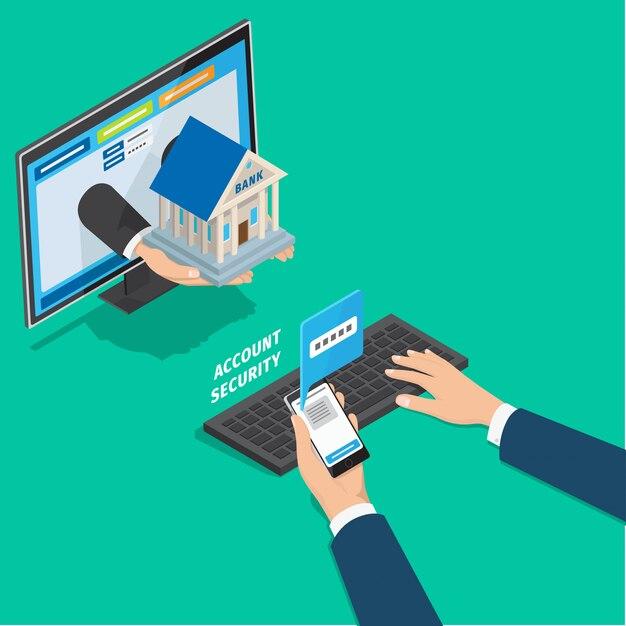 Conceito de segurança de conta de serviço de banco on-line