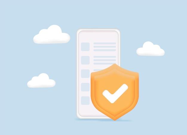 Conceito de segurança de dados aplicativo de segurança móvel na tela do smartphone proteção de segurança de dados segurança