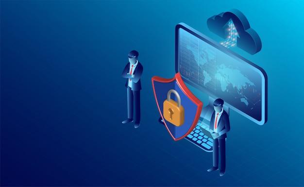 Conceito de segurança de dados e banner de proteção de privacidade