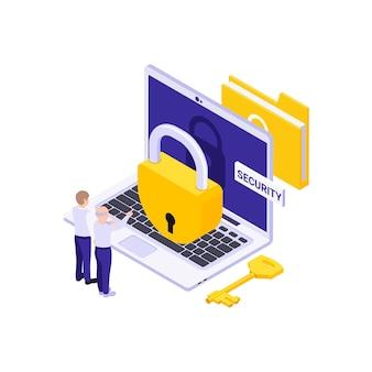 Conceito de segurança de dados isométricos com duas pessoas e bloqueio no computador