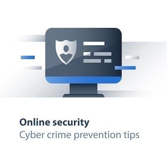 Conceito de segurança de dados pessoais, acesso limitado, prevenção de crimes cibernéticos, antivírus de computador