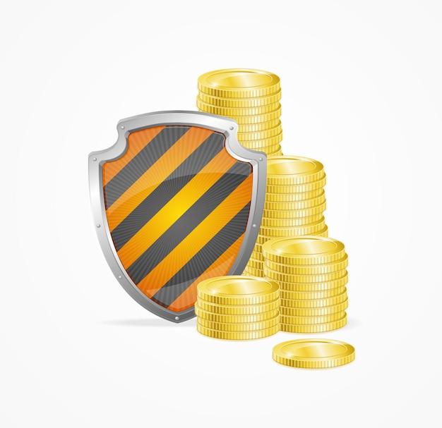 Conceito de segurança de dinheiro isolado. escudo e moedas de ouro.