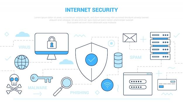 Conceito de segurança de internet com estilo de linha de ícone conectado com estilo de cor azul branco