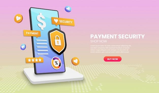 Conceito de segurança de pagamento com escudo de telefone e elemento colorido. ilustração em vetor 3d