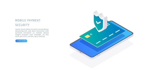Conceito de segurança de pagamento móvel em ilustração vetorial isométrica sistema de proteção de pagamento online com cartão de crédito e smartphone.