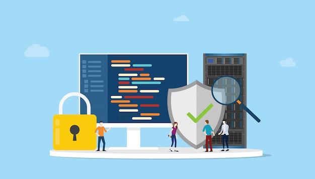 Conceito de segurança de programação de rede com programa de código