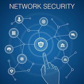 Conceito de segurança de rede, fundo azul. rede privada, privacidade online, sistema de backup, ícones de proteção de dados