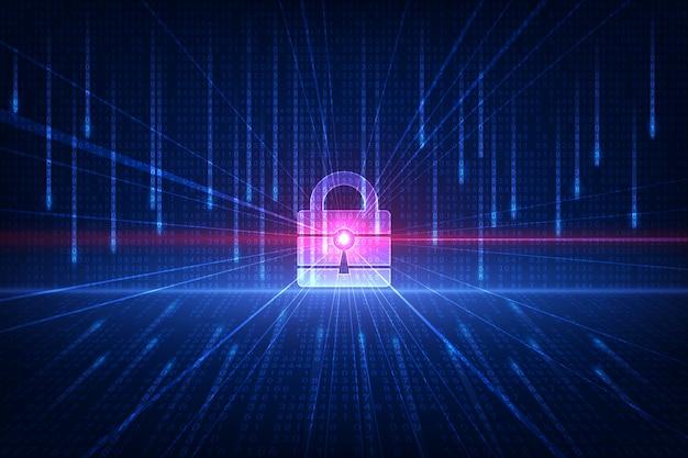 Conceito de segurança de tecnologia. fundo digital de segurança moderna. sistema de proteção.