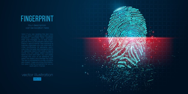 Conceito de segurança digital, impressão digital eletrônica na tela de digitalização. contorno de fio de baixo poli geométrico. partículas, linhas e triângulos em fundo azul. luz neon.