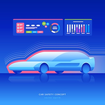 Conceito de segurança do carro. carro futurista com detecção e comunicação, ilustração