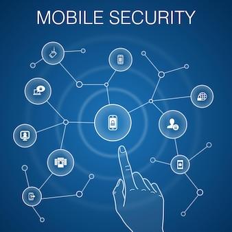 Conceito de segurança móvel, fundo azul. phishing móvel, spyware, segurança na internet, ícones de proteção de dados