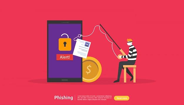 Conceito de segurança na internet com caráter de pessoas pequenas. ataque de phishing de senha. roubar dados pessoais. modelo de página de aterrissagem, banner, apresentação, social e mídia impressa. ilustração