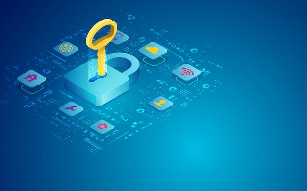 Conceito de segurança on-line chave de acesso, copyspace