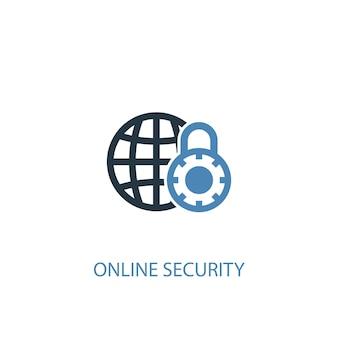 Conceito de segurança online 2 ícone colorido. ilustração do elemento azul simples. design de símbolo de conceito de segurança online. pode ser usado para ui / ux da web e móvel