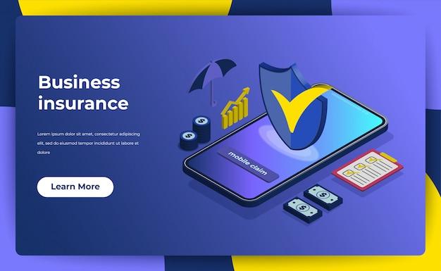Conceito de seguro de negócios. landing page garantia de política para o seu negócio.