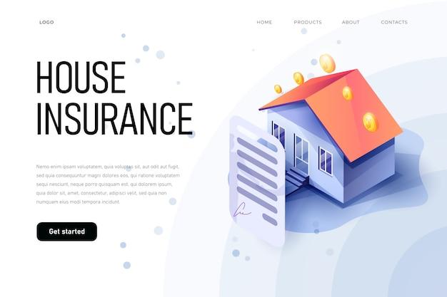 Conceito de seguro de propriedade isométrica de ilustração.