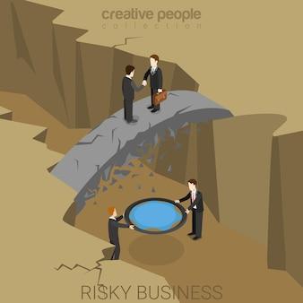 Conceito de seguro de risco isométrico plano para negócios arriscados