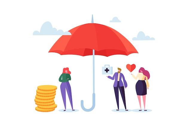 Conceito de seguro de saúde com personagens e guarda-chuva. medicamento e agente de saúde que propõe contrato de assistência médica aos clientes.