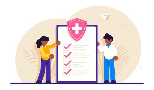 Conceito de seguro de saúde, hospital e assistência médica.