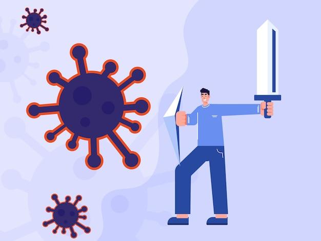 Conceito de seguro e vacina. o homem segura o escudo e a espada protegem do coronavírus.