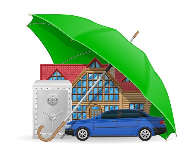 Conceito de seguro guarda-chuva protegido.
