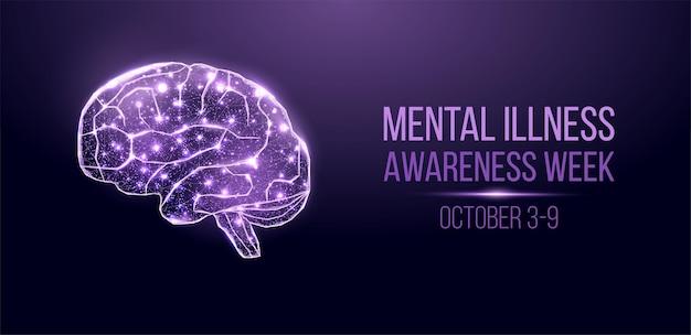 Conceito de semana de conscientização de doença mental. banner com cérebro de wireframe de poli baixo brilhante. isolado em fundo azul escuro. ilustração vetorial.