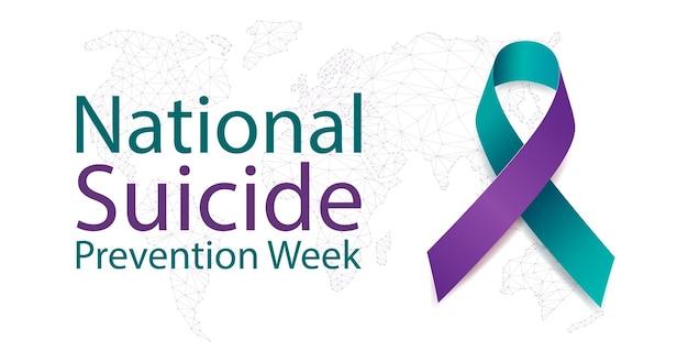 Conceito de semana de prevenção nacional do suicídio. banner de 5 a 11 de setembro com texto e conscientização de fita roxa e azul-petróleo.