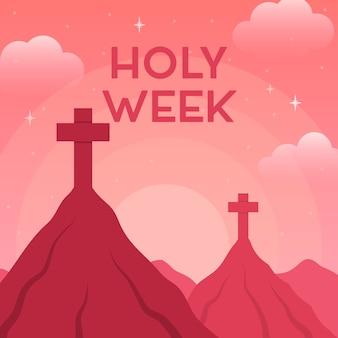 Conceito de semana santa plana
