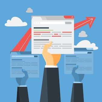Conceito de seo. idéia de otimização de mecanismo de busca para site como estratégia de marketing. promoção de página da web no navegador da internet. ilustração