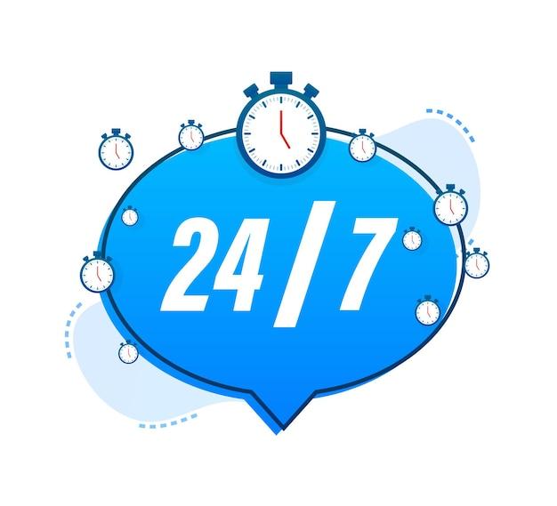 Conceito de serviço 24-7. 24-7 aberto. ícone do serviço de suporte. ilustração em vetor das ações.