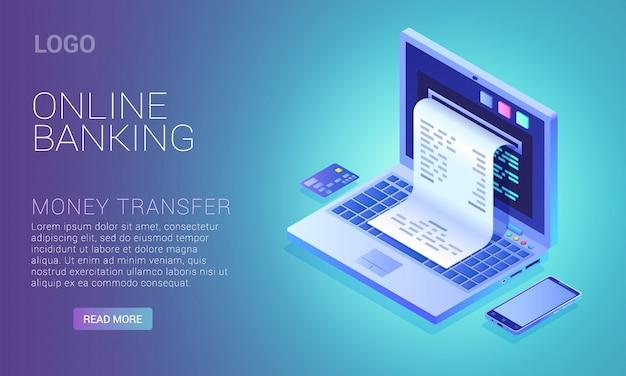 Conceito de serviço bancário on-line, cheque na tela do laptop, pagamento pela internet