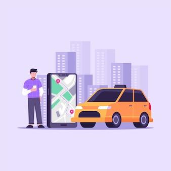Conceito de serviço de aplicativo de táxi