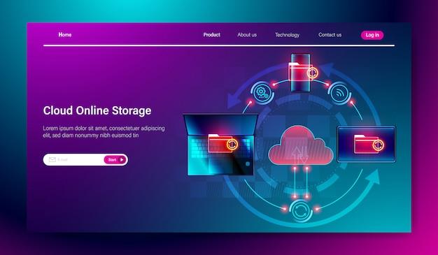 Conceito de serviço de armazenamento on-line de nuvem