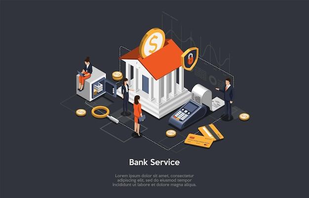 Conceito de serviço de banco isométrico, poupança e investimento. executivos e funcionários perto do edifício do banco. personagens aguardam consulta ao banco. atendimento vip do banco ao cliente.