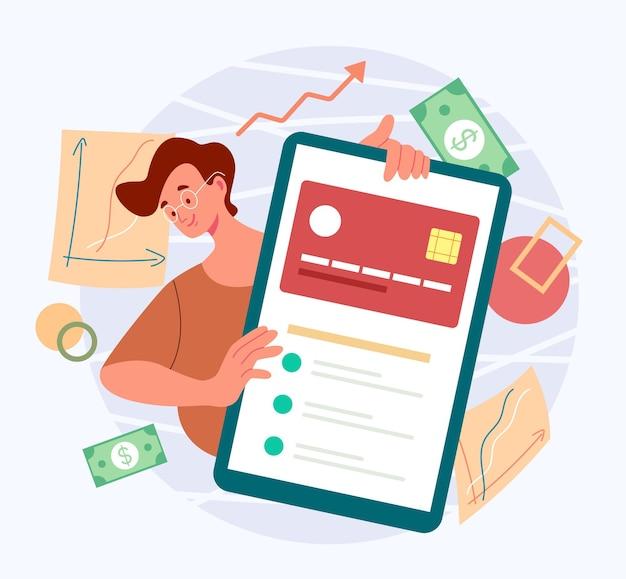 Conceito de serviço de cartão de crédito de banco móvel