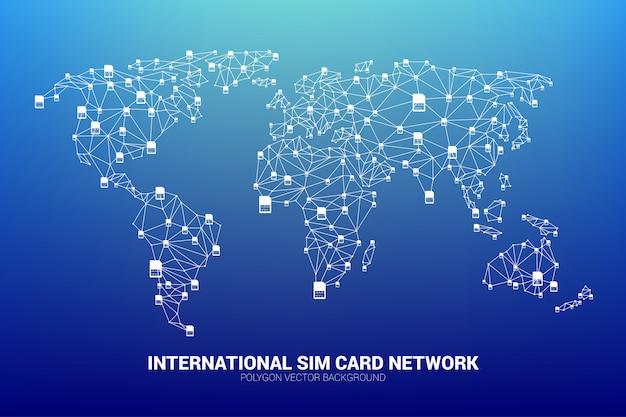 Conceito de serviço de cartão sim internacional e rede.
