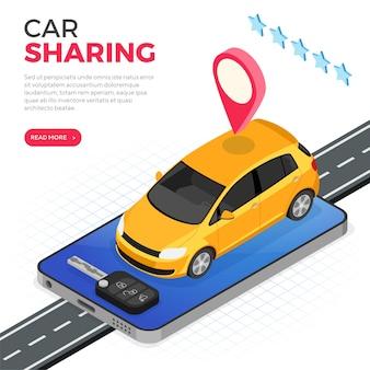 Conceito de serviço de compartilhamento de carro.