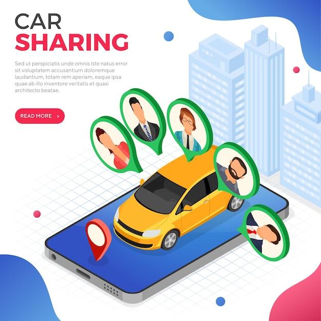 Conceito de serviço de compartilhamento de carro
