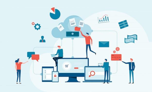 Conceito de serviço de computação em nuvem de tecnologia de negócios e com o conceito de trabalho de equipe de desenvolvedor