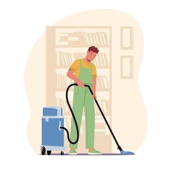 Conceito de serviço de empresa de limpeza. caráter masculino, lavando, varrendo e esfregando o chão com aspirador de pó profissional, lavabo ou hotel, ocupação de zelador. ilustração em vetor desenho animado