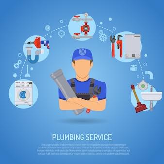 Conceito de serviço de encanamento