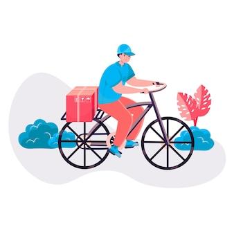 Conceito de serviço de entrega. caixa postal em porta-bicicletas para a casa do cliente. remessa expressa, distribuição, cena de caráter logístico. ilustração vetorial em design plano com atividades pessoais