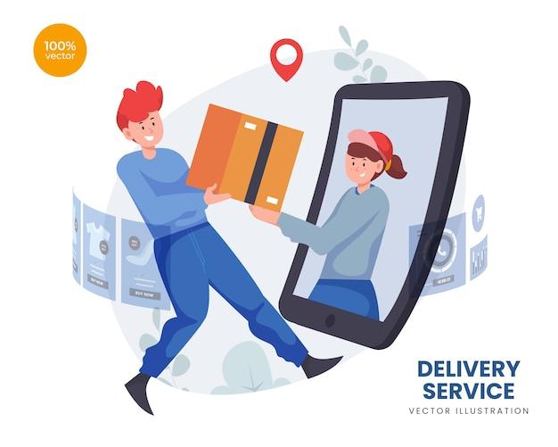 Conceito de serviço de entrega com correio enviar uma caixa de pacote para o cliente online e na tela digital
