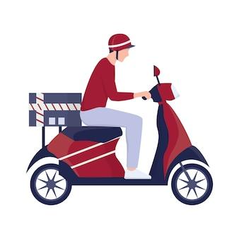 Conceito de serviço de entrega. correio com caixa em ciclomotor. pessoa de uniforme na scooter. ilustração