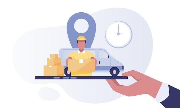 Conceito de serviço de entrega, correio com carro de entrega, mão segurando o smartphone com localização.