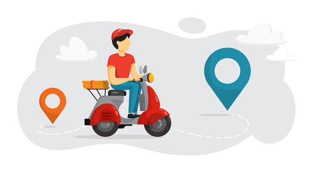 Conceito de serviço de entrega. courier com pizza na motocicleta
