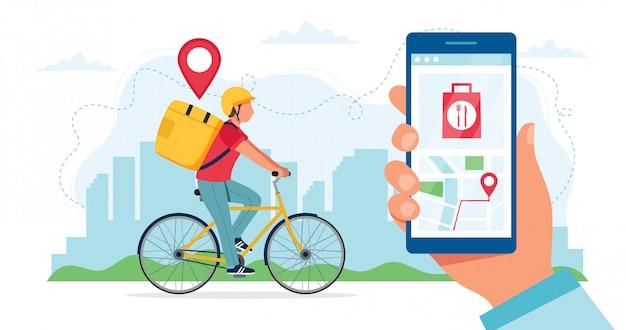Conceito de serviço de entrega de bicicleta, personagem de correio, andar de bicicleta com caixa de entrega