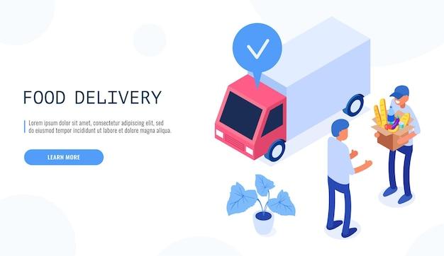 Conceito de serviço de entrega de comida. entregador dá a caixa com comida ao cliente do sexo masculino.