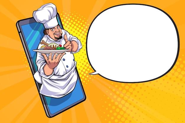 Conceito de serviço de entrega de comida online de restaurante e café pop art comic style