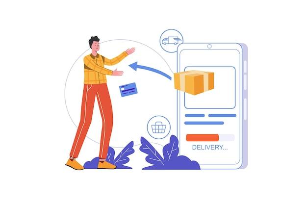 Conceito de serviço de entrega de internet. homem faz compra e recebe pedido usando aplicativo móvel, cena de pessoas isolada. envio rápido, rastreamento de encomendas. ilustração vetorial em design plano minimalista
